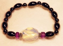 Magnetic Bracelet Seal Opal nugget, amethyst rondell 2 x Sterling silver and olice 4mm round repeat