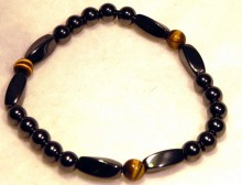 Magnetic Bracelet Tiger Eye Brown 6mm Twists 6mm plain