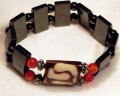 Magnetic Bracelet Large Double spacers with Square BONE bead and 6mm Carnelian with Sterling silver.