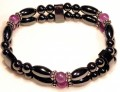 Magnetic Bracelet Double Strand Amethyst 6mm, Rice beads and Sterling Silver. 6mm round.