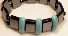 Magnetic Bracelet Double with Long Turquoise Beads