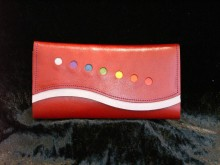 Red Satin Leather with Chakra Colors and Mauve Trim