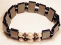 Magnetic Bracelet Double with Creme Magnetic Pearl Beads and Sterling Silver