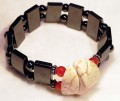 Magnetic Bracelet Large Double spacer with Creme Mottled stones, 6mm carnelian and sterling silver
