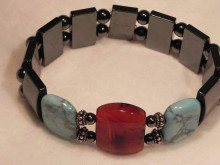 Magnetic Bracelet Large double spaces, square Carnelian and Turquoise beads and Sterling Silver
