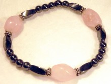 Magnetic Bracelet Large nugget Rose Quartz, twist beads and sterling silver 6mm rounds.